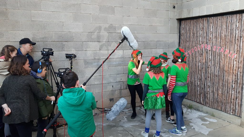 "Filming outside Rudolph's Stable: The 9-12s group put their filmmaking skills into practice with  ""Let's Save Christmas!"""