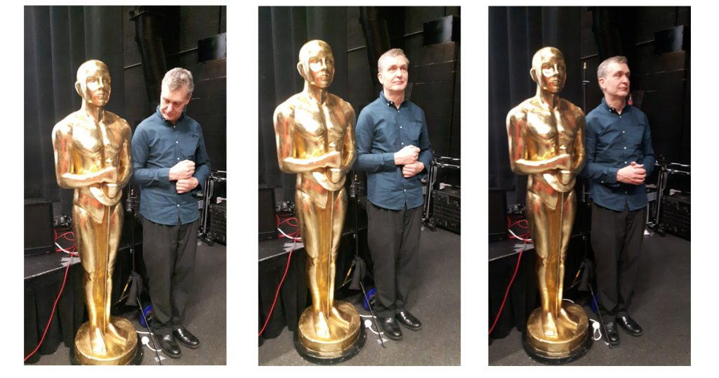 Graham with his giant Oscar statue